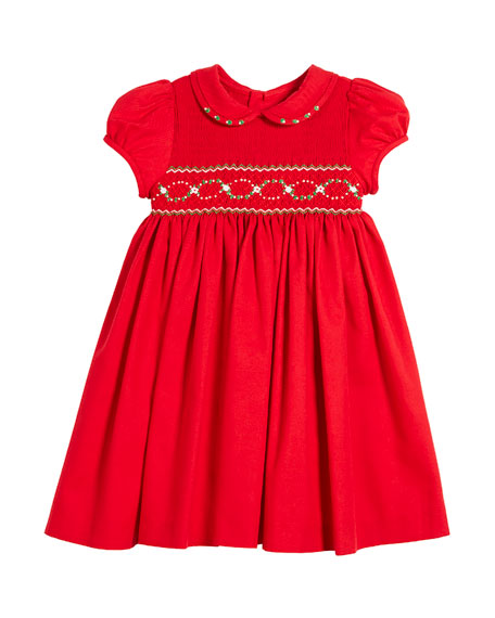 Luli & Me Half Smocked Puffy-Sleeve Bishop Dress,