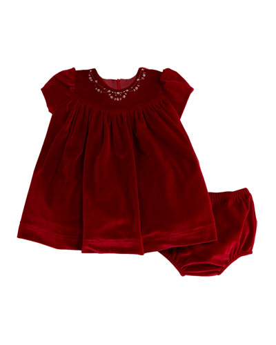 Embroidered Velvet Dress w/ Bloomers, Size 12-24 Months