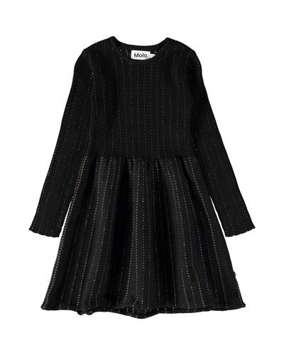 Cameron Long-Sleeve Rib-Knit Lurex Dress, Size 3T-12