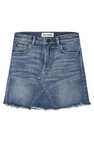 DL1961 Premium Denim Girls' Jenny Raw-Edge Denim Mini Skirt, Size 7-16