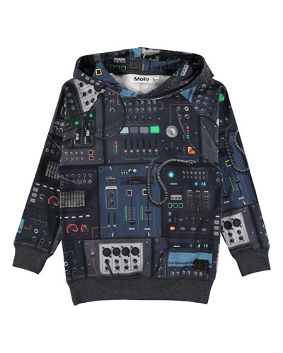 Russel Electronic-Print Hooded Top, Size 4-12