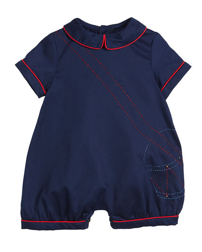 Drummer Boy Embroidered Shortall, Size 9-24 Months