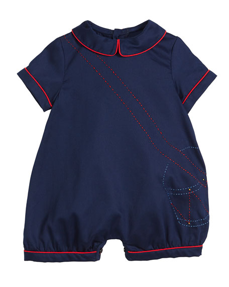 Luli & Me Drummer Boy Embroidered Shortall, Size