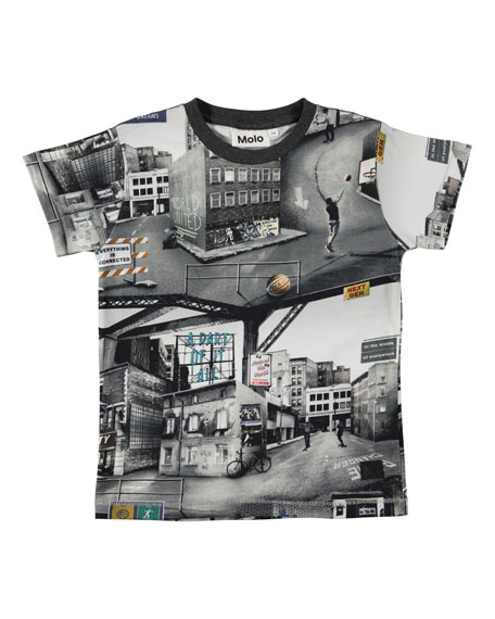 Molo Ragnij City Text-Print Short-Sleeve Tee, Size 4-12