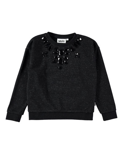 Maila Speckled Bejeweled Sweatshirt, Size 5-12