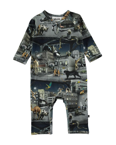 Fleming Escaped Zoo Animal-Print Coverall, Size 3-12 Months