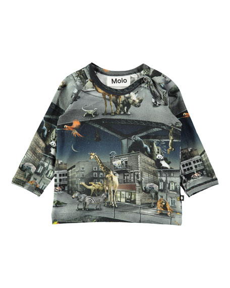 Molo Ewald Escaped Zoo Animal-Print Tee, Size 6-24