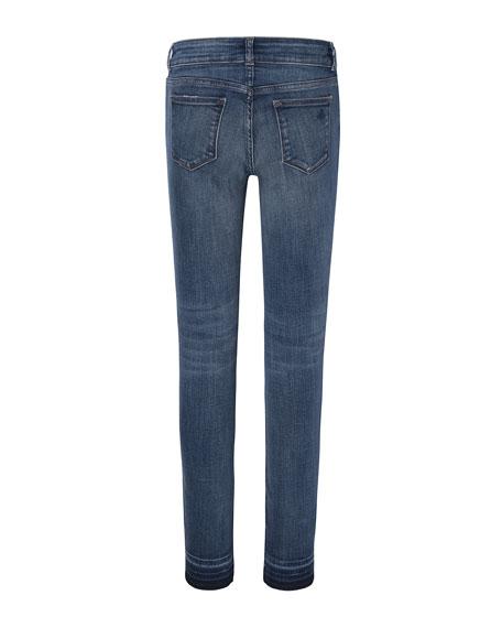 Girls' Medium Wash Distressed Skinny Jeans w/ Double Cross Hem, Size 7-16