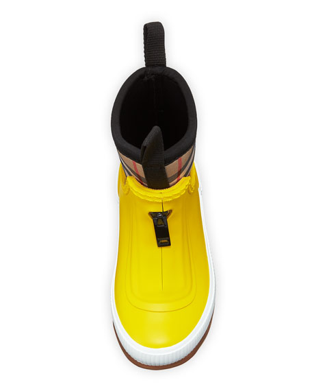 Flinton Short Rubber Rain Boots w/ Check Detail, Toddler/Kids