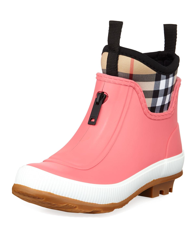 c07a30e2df9 Burberry Flinton Short Rubber Rain Boots w  Check Detail