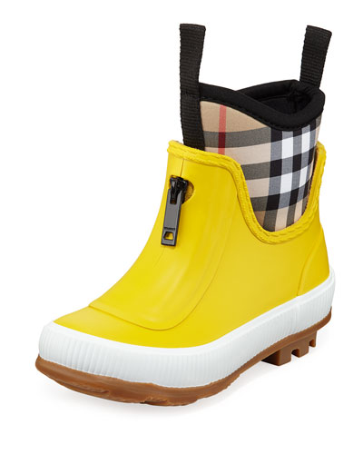 Flinton Short Rubber Rain Boots w/ Check Detail, Toddler/Kids