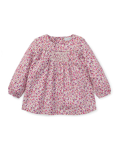 Smocked Long-Sleeve Floral Top, Size 6-24 Months