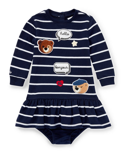 Long-Sleeve Striped Patches Dress w/ Bloomers, Size 6-24 Months