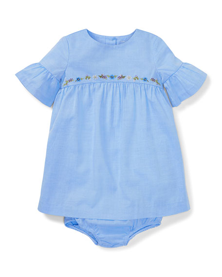 Ralph Lauren Childrenswear Woven Ruffle-Sleeve Embroidered Dress