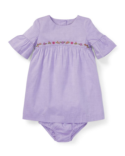 Woven Ruffle-Sleeve Embroidered Dress w/ Bloomers, Size 6-24 Months