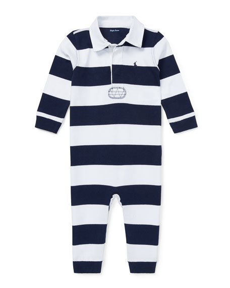 Ralph Lauren Childrenswear Striped Rugby Collared Coverall, Size