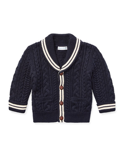 Aran Cable-Knit Cardigan Sweater, Size 6-24 Months