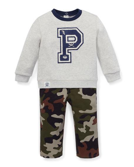 Ralph Lauren Childrenswear Logo Sweatshirt w/ Camo Pants,