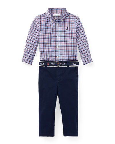 Plaid Button-Down Shirt w/ Woven Chinos, Size 6-24 Months