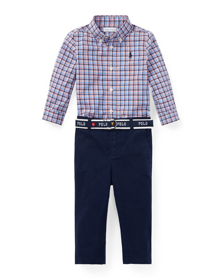 Ralph Lauren Childrenswear Plaid Button-Down Shirt w/ Woven