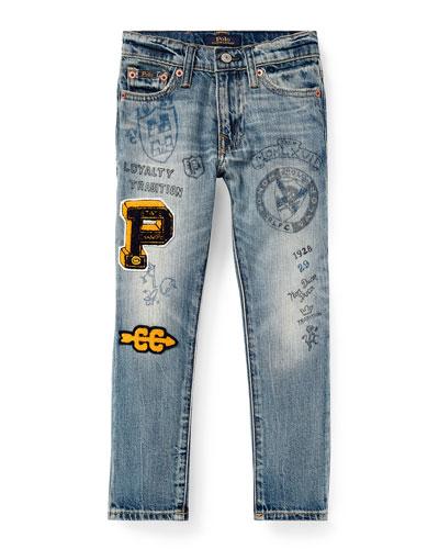 Sullivan Marker-Print Straight-Leg Jeans, Size 2-4