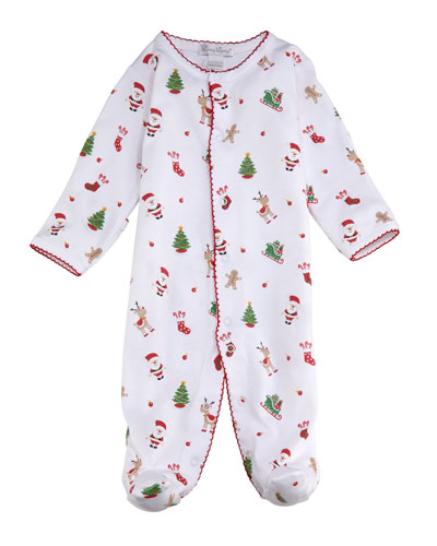 Tis The Season Printed Pima Footie Playsuit, Size 0-9 Months