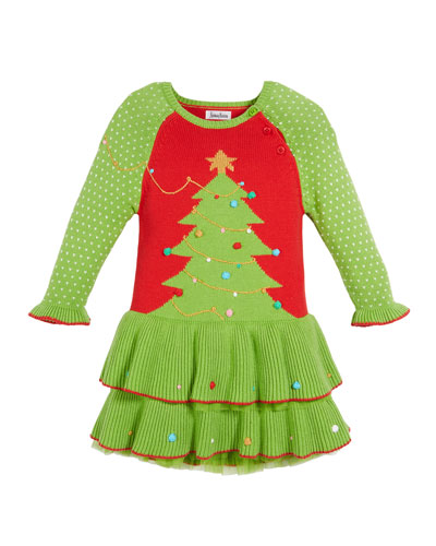 Knit Christmas Tree Dress, Size 12M-5