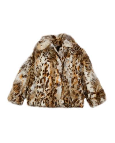 Lynx-Pattern Fur Jacket  Size 2T-12Y