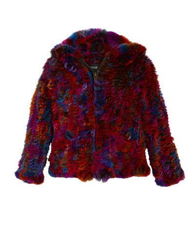 Knitted Multicolored Hooded Fur Jacket  Size 2T-12Y
