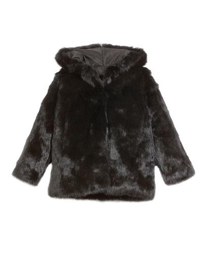 Hooded Rabbit Fur Coat  Size 2T-12Y