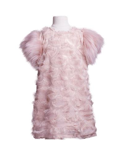 Fringe A-Line Dress w/ Faux Fur Sleeves, Size 8-14