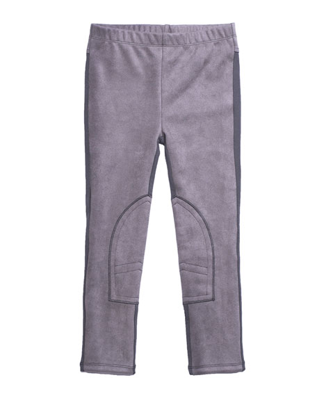 Imoga Stretch Faux-Suede Contrast-Back Pants, Size 2-6