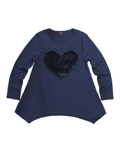 Jersey-Stretch Tunic w/ Faux-Fur Heart Patch, Size 2-6
