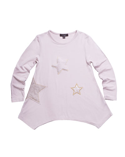 Jersey-Stretch Tunic w/ Faux-Fur & Sequin Star Patches, Size 2-6
