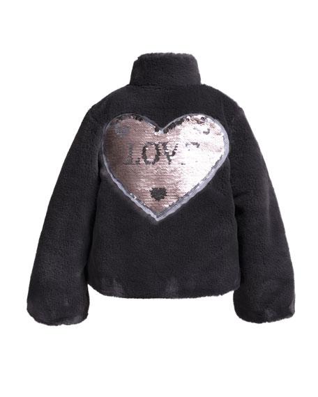 Faux-Fur Jacket w/ Sequin Heart Patch, Size 2-6