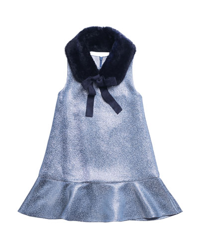 Sleeveless Metallic Dress w/ Faux Fur Shawl Collar, Size 4-6