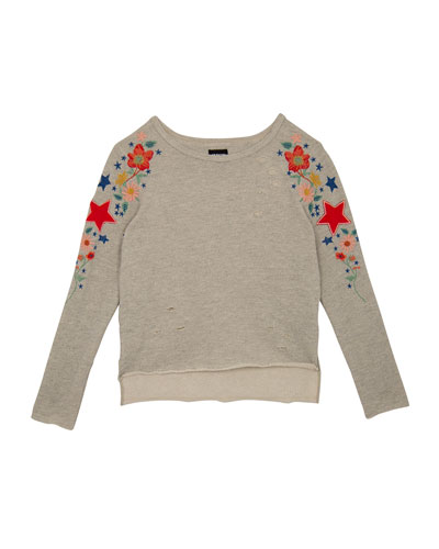 Distressed French Terry Sweatshirt w/ Flower & Star Embroidery, Size S-XL