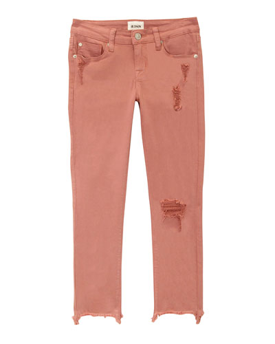 Wren Distressed Chewed-Hem Skinny Jeans, Size 4-6X