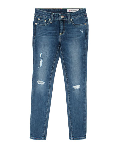 Twiggy Swamp Meet Distressed Ankle Cropped Jeans, Size 7-14
