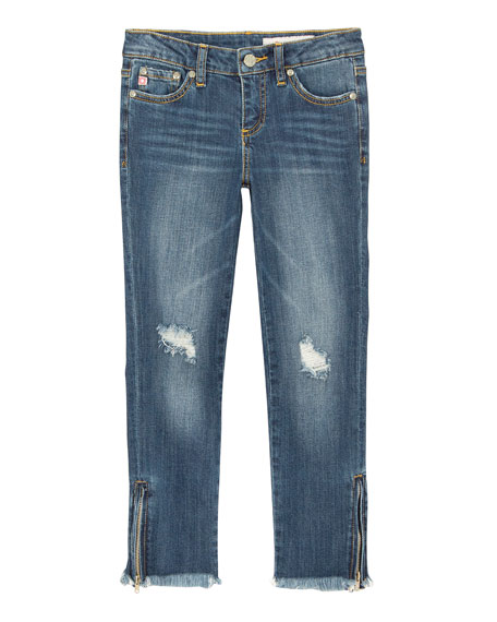 AG Adriano Goldschmied Farren Distressed Raw-Hem Embroidered