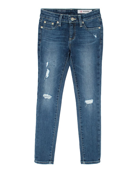 Twiggy Swamp Meet Distressed Ankle Cropped Jeans, Size 4-6X