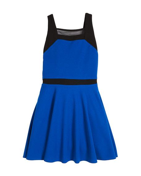 Slone Colorblock Square-Neck Dress, Size S-XL
