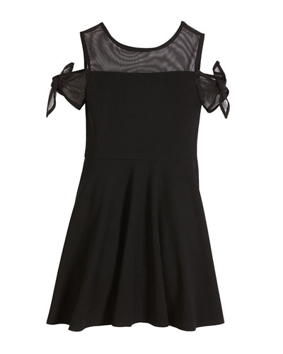 Bailey Cold-Shoulder Sheer-Trim Dress, Size S-XL