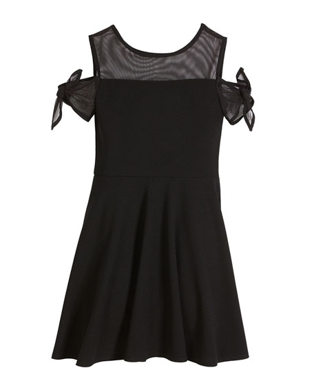Bailey Cold-Shoulder Sheer-Trim Dress, Size S-XL