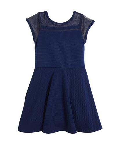 Lauren Textured Cap-Sleeve Dress w/ Sheer Yoke, Size S-XL