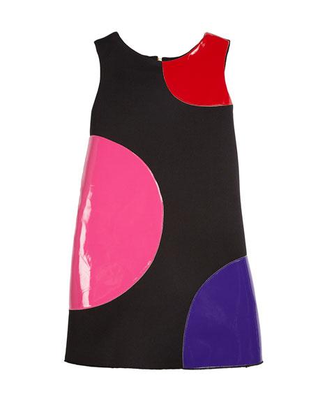 Zoe Dot Patches Scuba Knit Dress, Size 4-6X