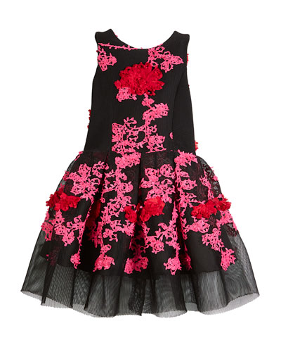 Mila Perforated Knit Floral-Embroidery Holiday Dress, Size 7-16