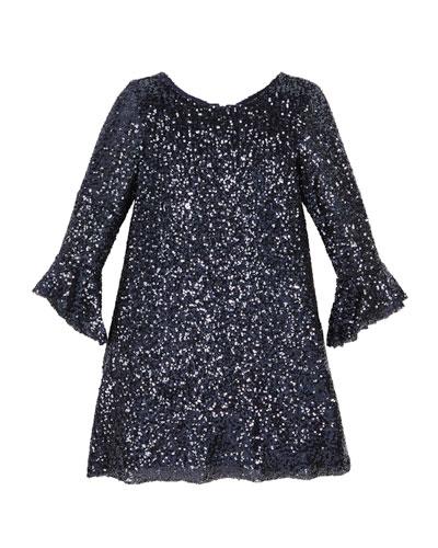 Tina Sequin Knit Dress, Size 7-16