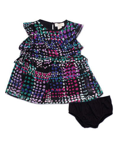 spots-print tiered ruffle dress w/ bloomers, size 12-24 months