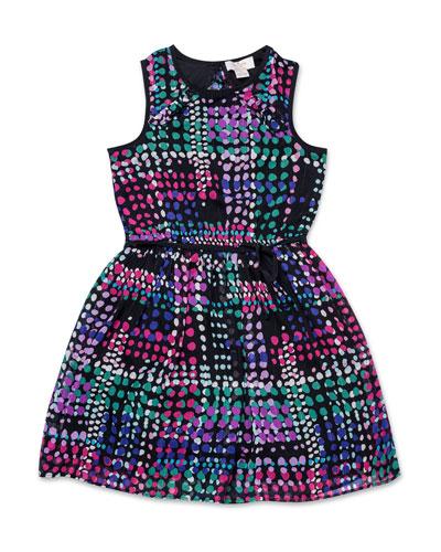 ruffle-trim spots-print dress, size 7-14